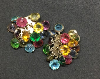 Vintage gold clip on earrings with dangly stones