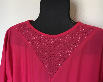 Vintage Pink Dress with Sparkly Collar