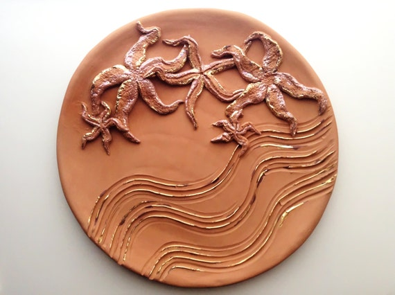 Piatto marino in ceramica grezza con stelle marine vintage etsy