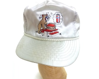Vintage Embroidered Satin Pepsi Hat Sneaky Bear cd010ee877f