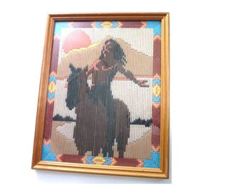 Vintage Framed Crewel Yarn Wall Art Indian on Horse Lines