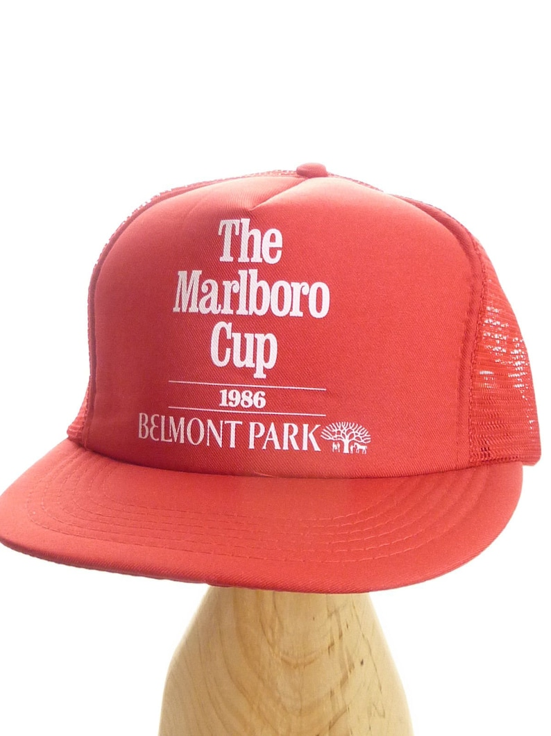 601cea86 Vintage Trucker Hat Marlboro Cup 1986 Belmont Park Horse   Etsy