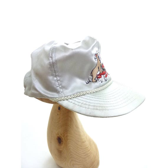 aa22a26e1a8 Vintage Embroidered Satin Pepsi Hat Sneaky Bear