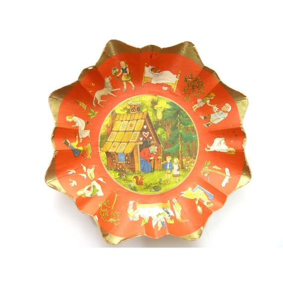 Western Germany Paper Cardboard Bowl Hansel and Gretel Fairy Tale