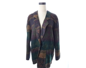 Womens Vintage Gemini Dark Green Black Southwest Lightweight Blazer Jacket L XL