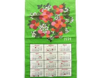 1974 Vintage Linen Calendar Kitchen Towel Cloth Tea Cloth Raspberries Green