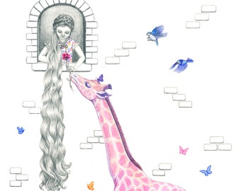 Rapunzel and the Pink Giraffe, Giclee Print, A3, illustration, children's room decor, wall art