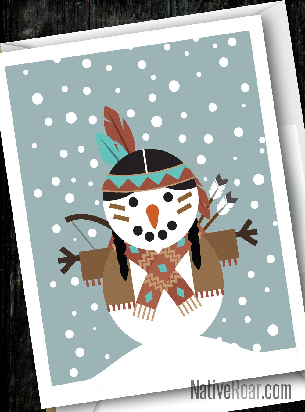 Native American Snowman Christmas Card Seasons Greetings Etsy