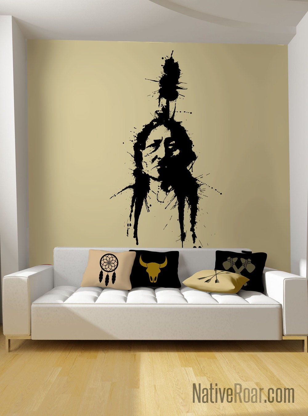 Chief Sitting Bull Wall Decal Ink Illustration Native American   Etsy
