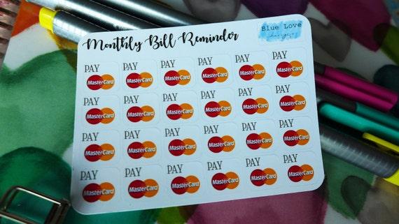 Monatliche Rechnung Erinnerung Aufkleber Bill Erinnerung Etsy