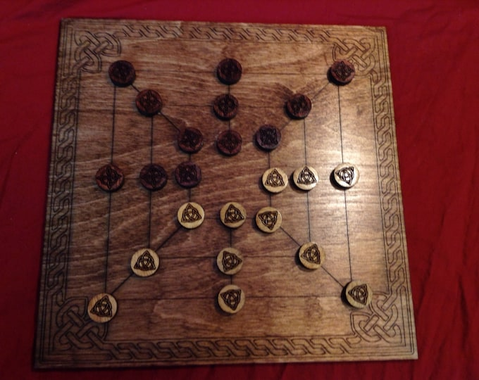 Twelve Men's Morris Board Game
