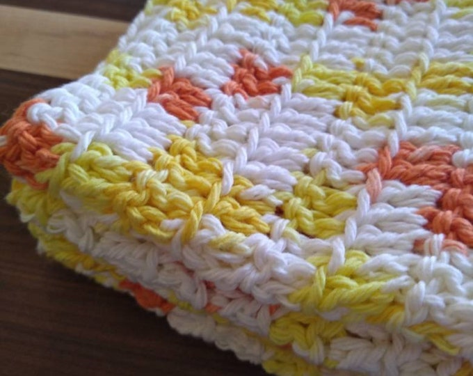100% Cotton Crocheted Wash Cloths - Large Size - Pack of 2 - Citrus Colored