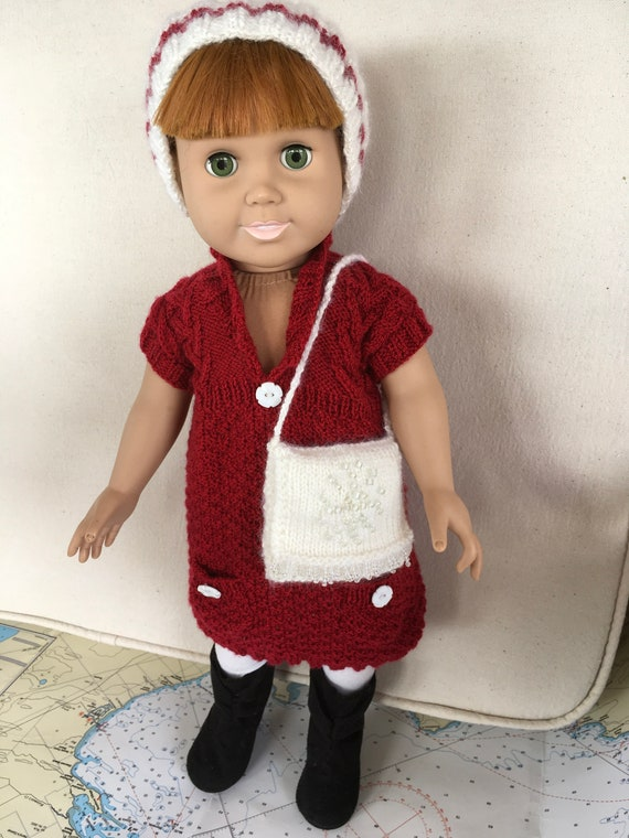 American Girl Doll Red Tunic Dress, head band and Purse
