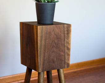 Walnut Wood Side Table, Night Stand, Mid Century Modern, Plant Stand