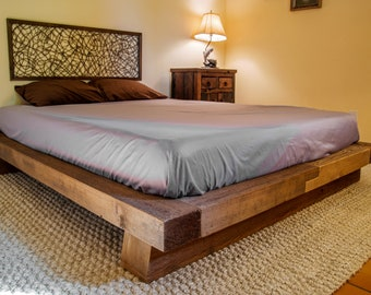 Wood Bed Frame Rustic Reclaimed Salvaged Timber Full Queen King