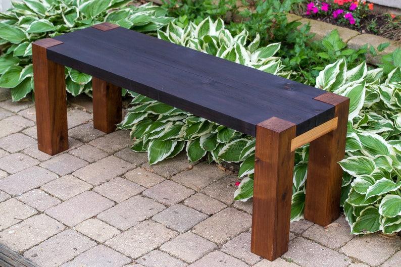 Jardin banc extérieur en bois rustique moderne | Etsy