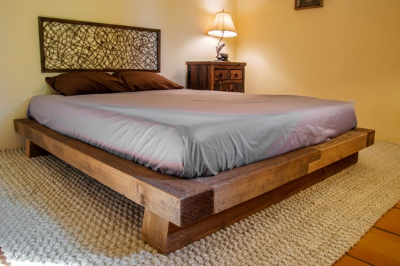 Wood bed frame, rustic reclaimed salvaged timber full queen king