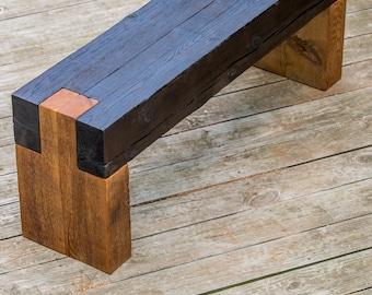 wood bench, shou sugi ban