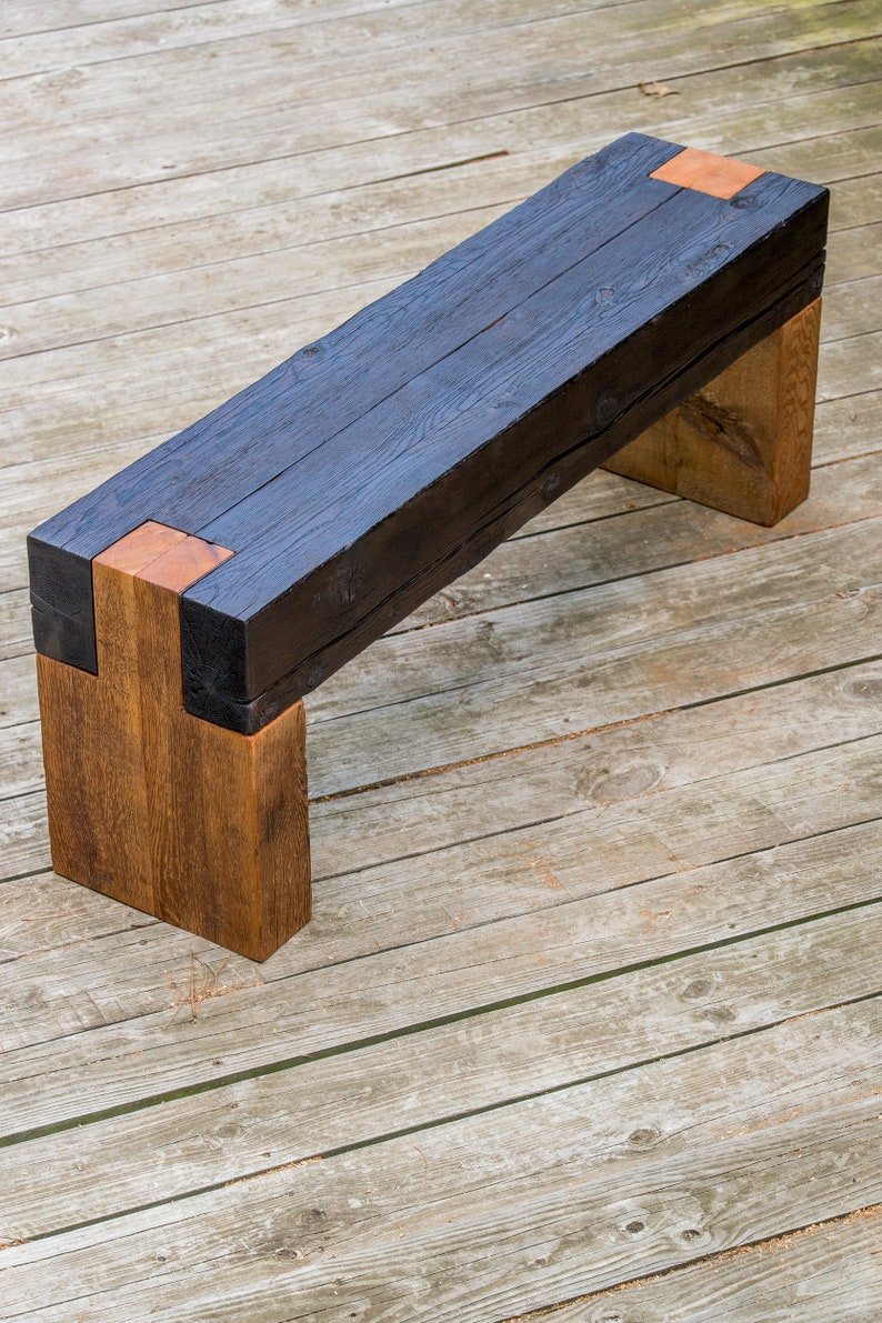 Shou Sugi Interdiction Moderne Rustique Banc En Bois Etsy