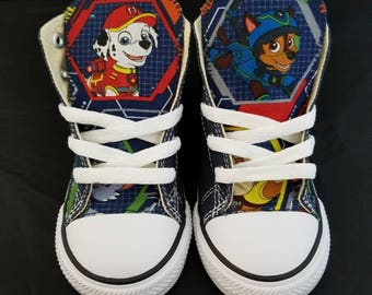 b8b52acae48 Paw patrol blue Converse personalized shoe featuring chase