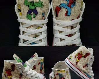 separation shoes 7855f 32e06 Captain America, Marvel Birthday outfit, Avenger, Hulk, Superheros, converse  shoes, Iron man sneakers, Comics fabric shoe, spiderman party