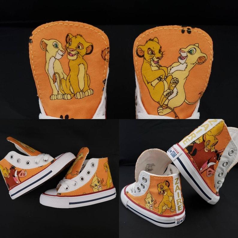 Lion king sneakers birthday custom Converse shoe featuring simba, nala, and puma, children lion jungle animal trainers by hallwayzdesigns
