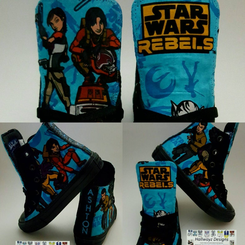 Custom converse Star Wars black and blue shoes, Rebels inspired shoes Converse chucks