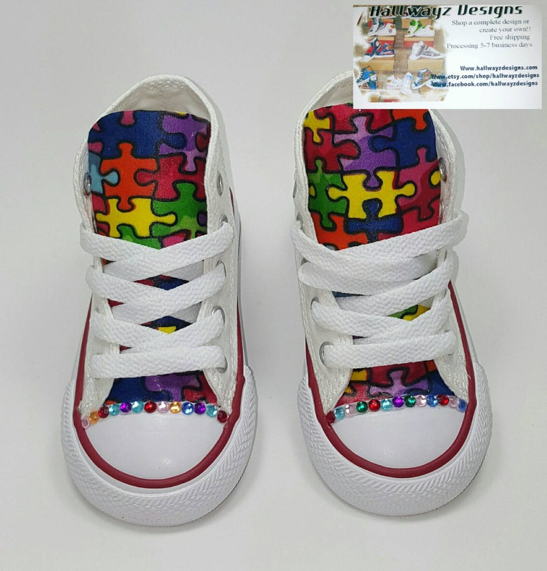 ded37d6916f76b Custom Autism Awareness Converse Shoes bedazzled crystals