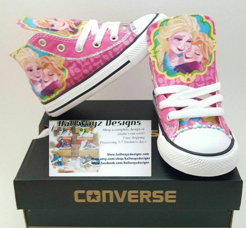 16ce796bb495 Personalized Converse Shoes Pink Disney Princess Frozen Elsa