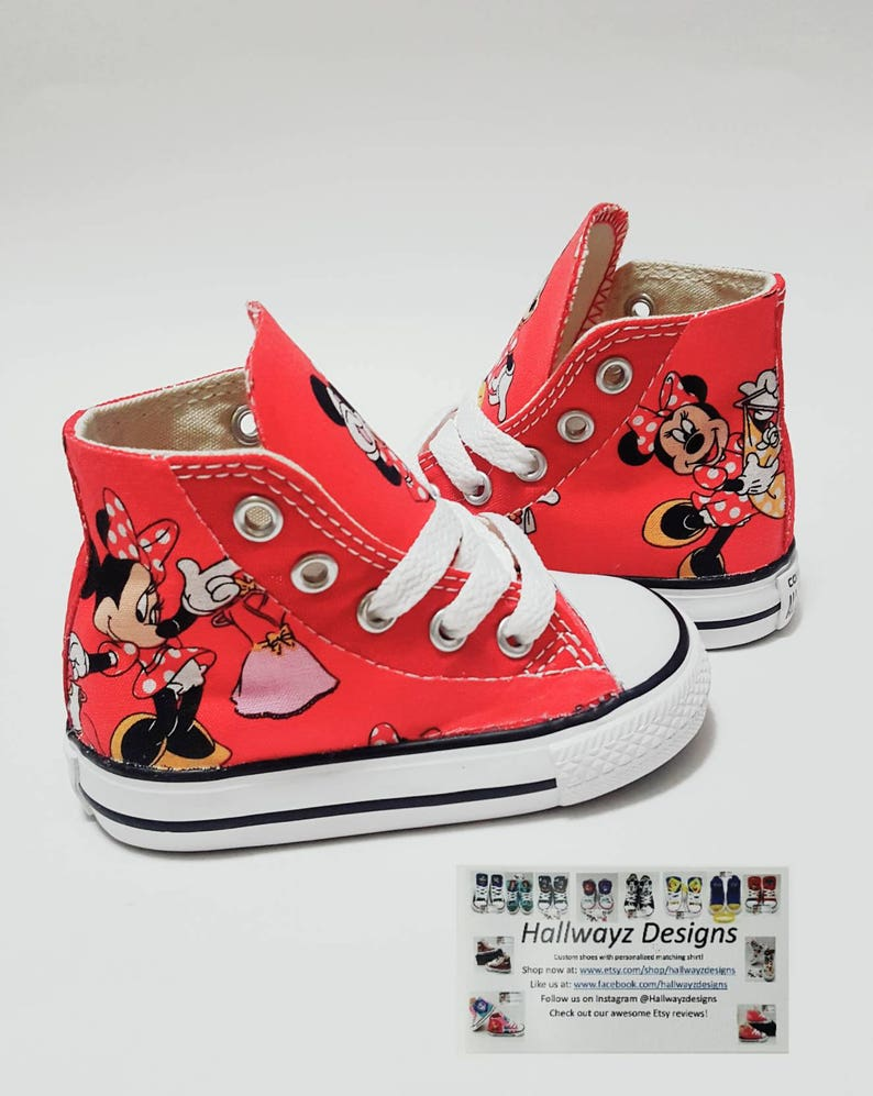 edac09561943 Disney birthday red minnie mouse shoes Converse shoes girl