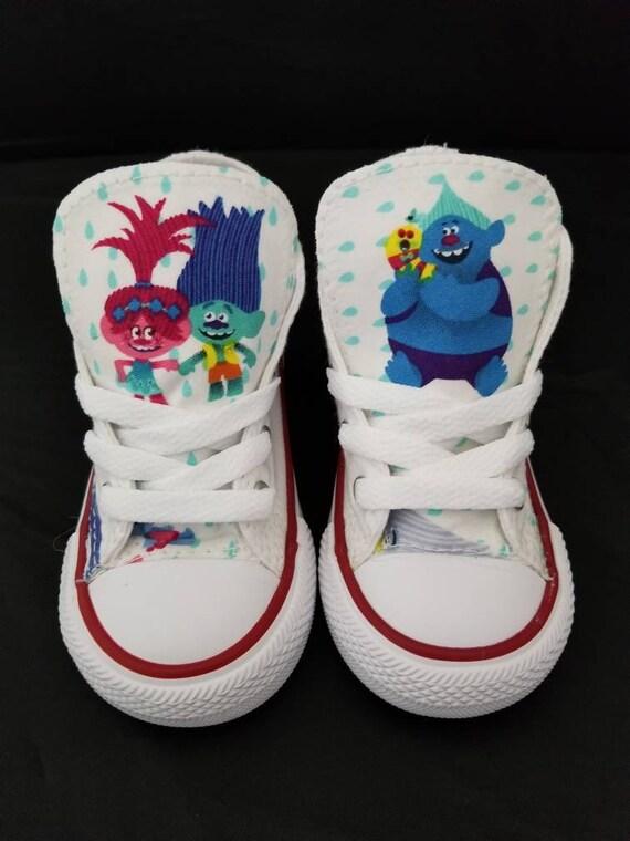 Trolls, Trolls Birthday, Princess Poppy Chucks, Converse, Troll Shoes, branch, glitter boy, satin & chenille white sneakers fabric cotton