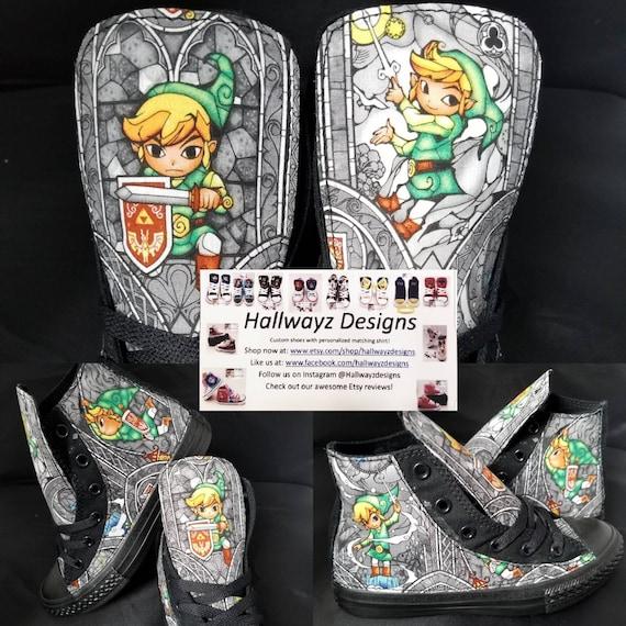 6f43fd5e180f Legend of Zelda black Converse shoes. Character Link birthday