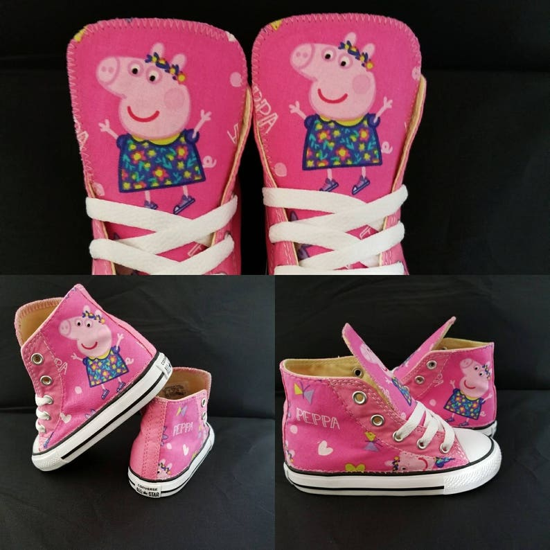 bfc30d1023921 Converse shoe, girls pink peppa pig birthday party, Christmas gift.  Handmade trainers. Children athletic sneakers