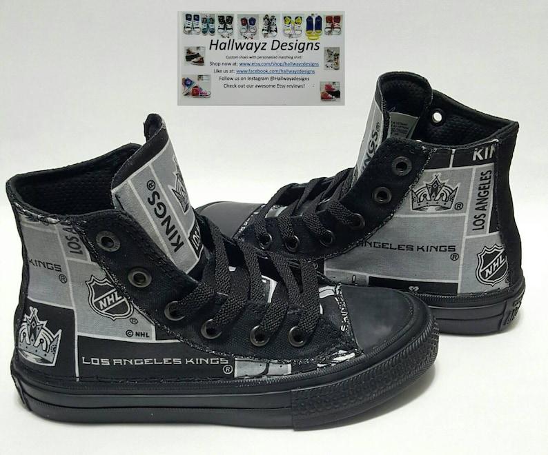 new concept ef893 7bda5 La Kings Converse, Los Angeles NHL shoes, custom chucks, hockey sneakers,  birthday outfit by hallwayzdesigns