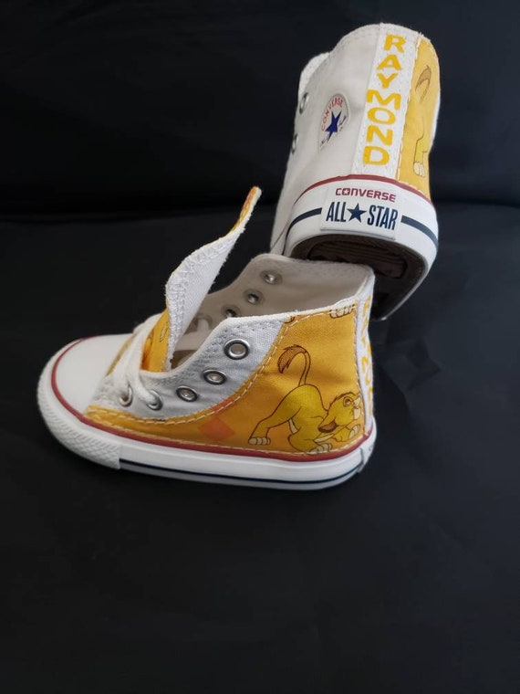 Lion king sneakers birthday custom Converse shoe featuring simba, nala, and puma, children lion jungle animal trainers by hallwayzdesigns