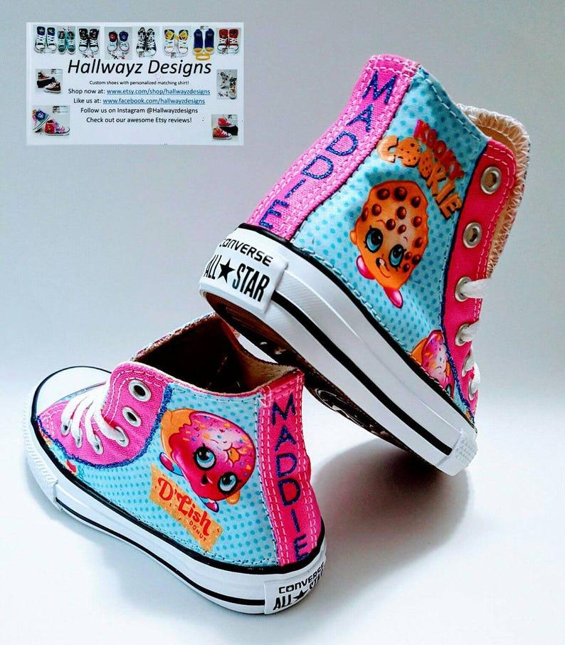 Vente Shopkins, chaussures Shopkin Converse, mandrins Legrand, baskets fille rose, fête d'anniversaire de Cookie, tissu en coton par