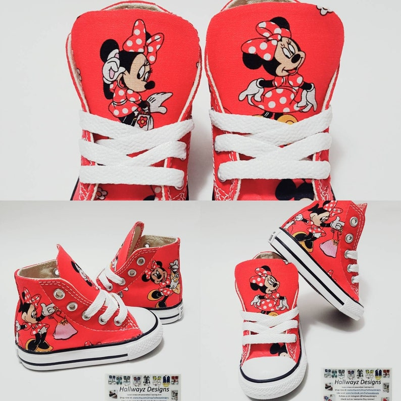 Disney birthday red minnie mouse shoes Converse shoes girl  ac005434d
