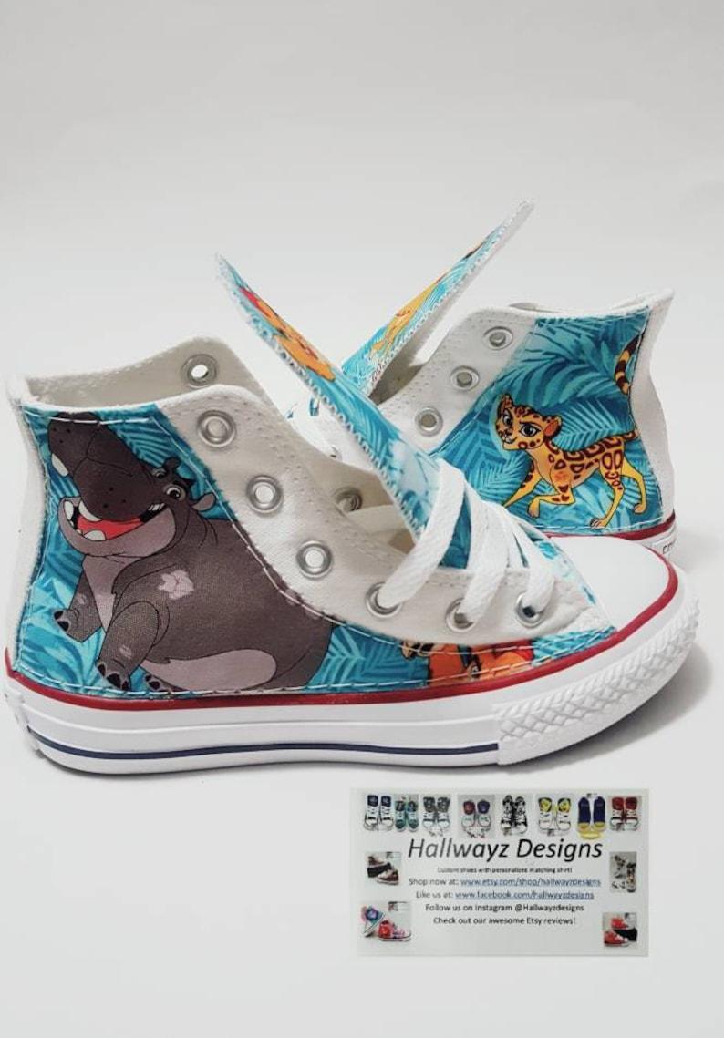 Disney Lion Guard, lion king Converse shoes, custom white chucks, children birthday shoes by hallwayzdesigns