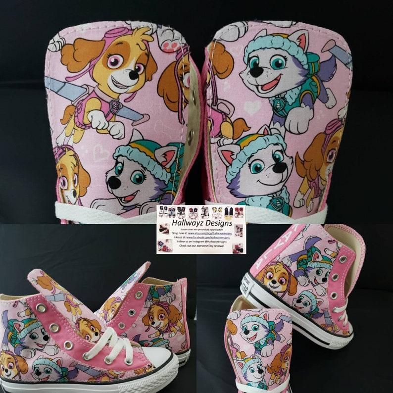 61f69299b2e98f Girls Pink Paw Patrol Birthday Converse Sneaker Pawpatrol