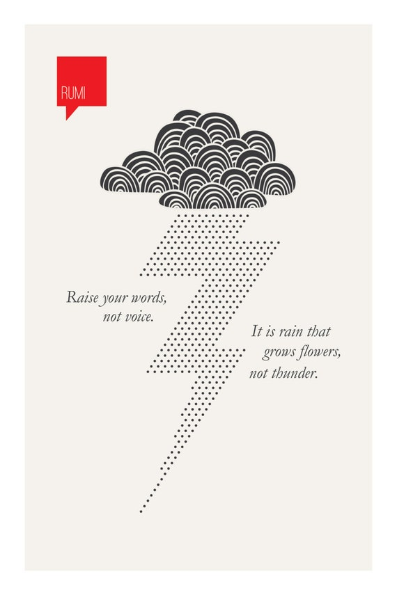 Poetry Print Rumi Quote Typography Print Raise Your Etsy