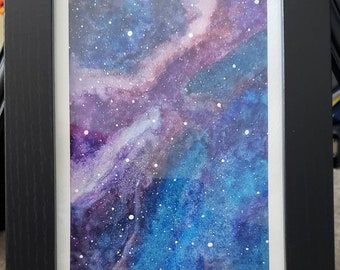 Blue watercolor galaxy | original art | watercolor painting