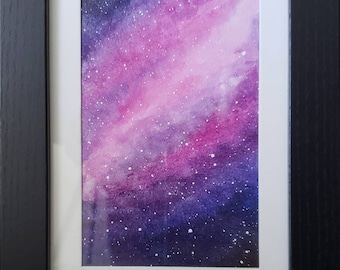 Pink watercolor galaxy | original art | watercolor painting