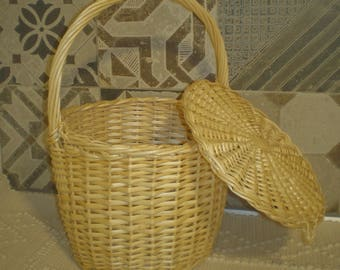 Wicker bag, Basket, wicker basket, wicker Handbag, bolsa de mimbre,Wickeltasche,  sac en osier,borsa de vimini,wicker purse