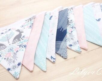 """Flag Garland """"Scandinavian rabbit, green, pink, blue * Pennant garland"""" Scandinavian Rabbit, water green, pink, blue * HANDMADE *."""