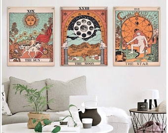3 Pcs Tarot Tapestry Flag Tapestry The Sun The moon The star Mandala Poster Hippie Cotton Printed Handmade Wall Hanging Wall Tapestries