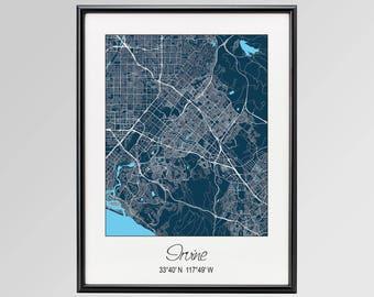 Where Is Irvine California On California Map.Irvine California Etsy