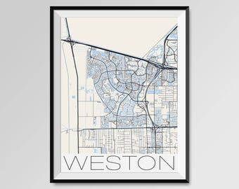 Weston Florida Map.Weston Florida Etsy