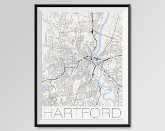 Hartford city map print Personalized artwork map gifts watercolor painting print of Connecticut CT USA map wall art decor framed poster