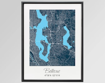 Bellevue Wa Map Etsy