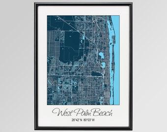 West Palm Beach Florida Map.Fl West Palm Beach Etsy